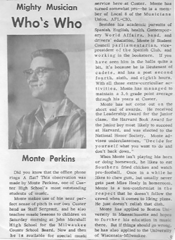 1964, HS newspaper did feature article on Monte
