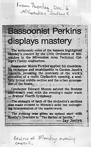1980s, review of Monte soloing with Civic Orchestra