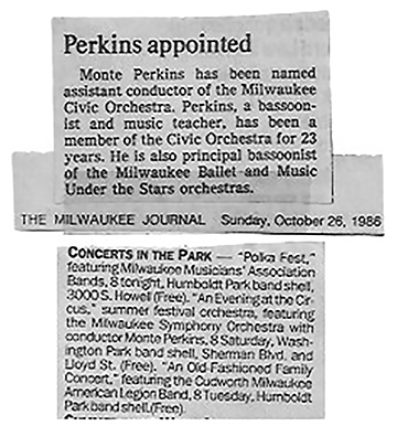 1986 appointed Assistant Conductor of the Civic Orchestra, summer concert Sherman Park